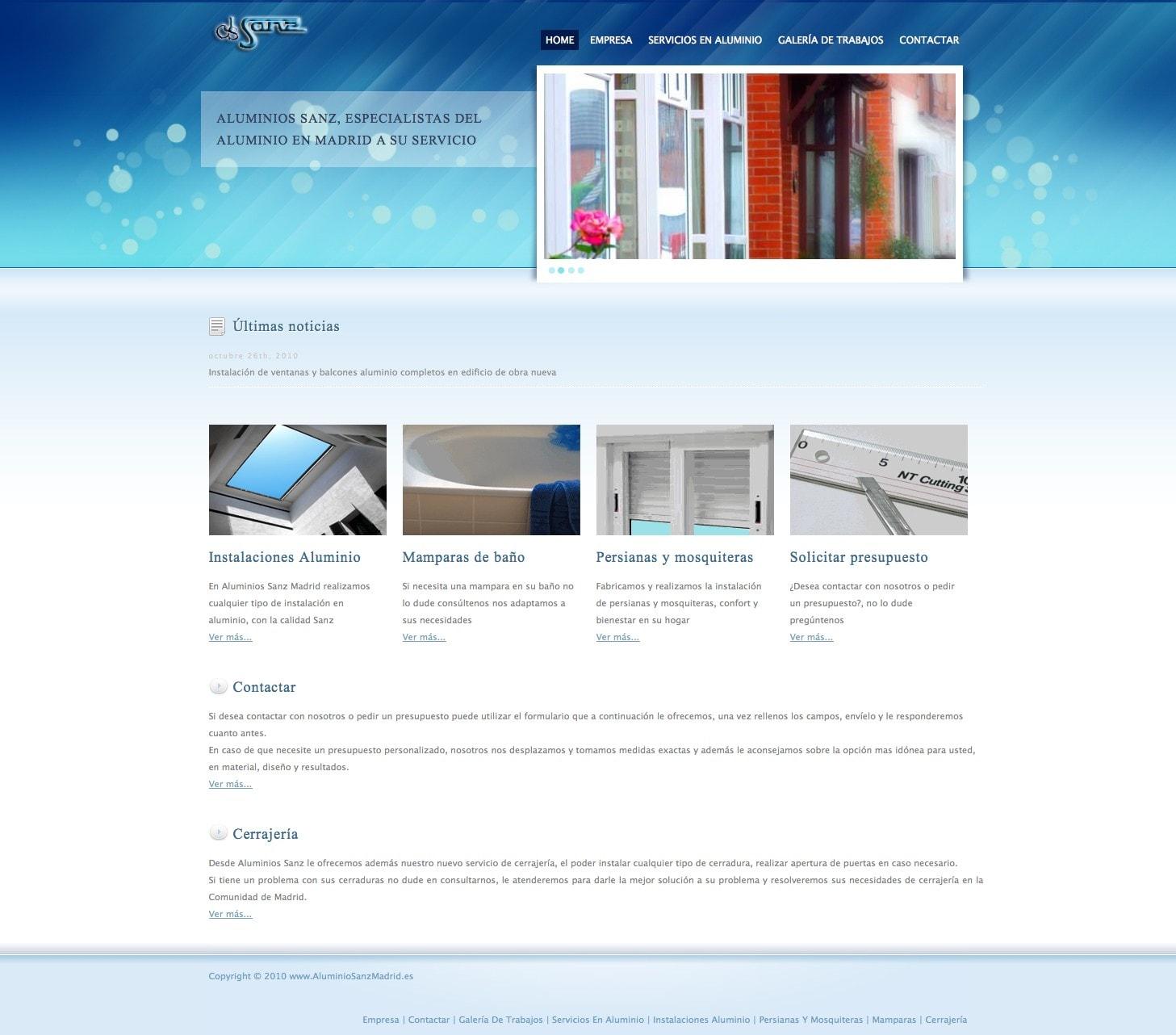Diseño de pagina web para empresa aluminios en Madrid