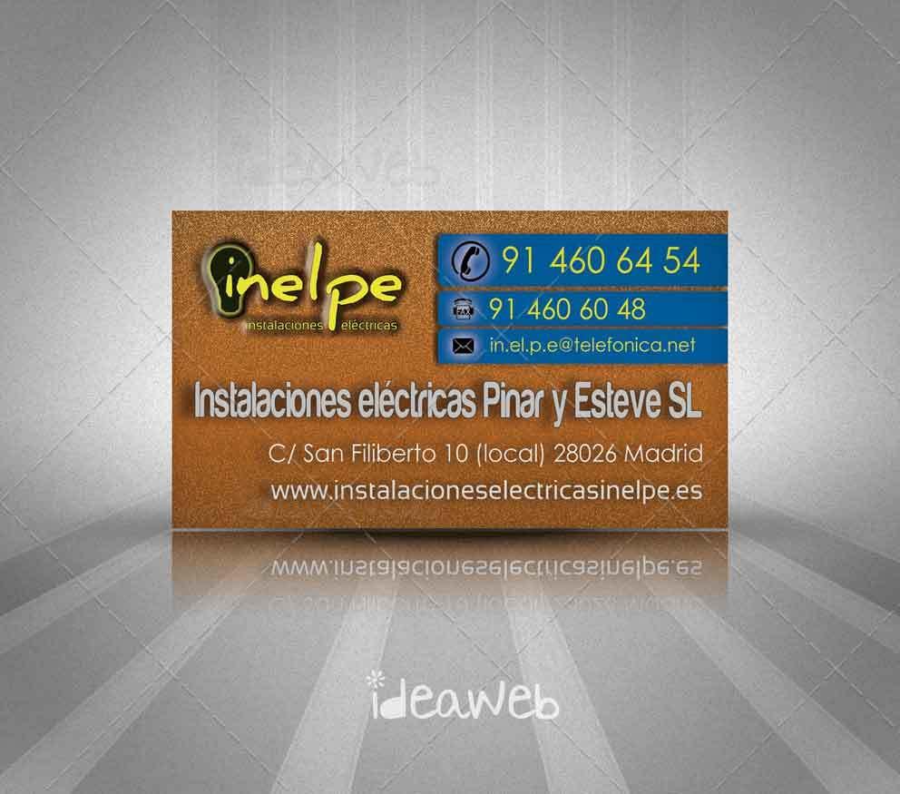 Diseño de tarjetas de visita para Instalaciones Eléctricas Inelpe Madrid