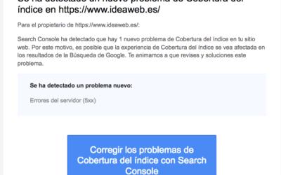 Google Search Console: Se ha detectado un nuevo problema de Cobertura del índice en http/https://www. ********* .es/