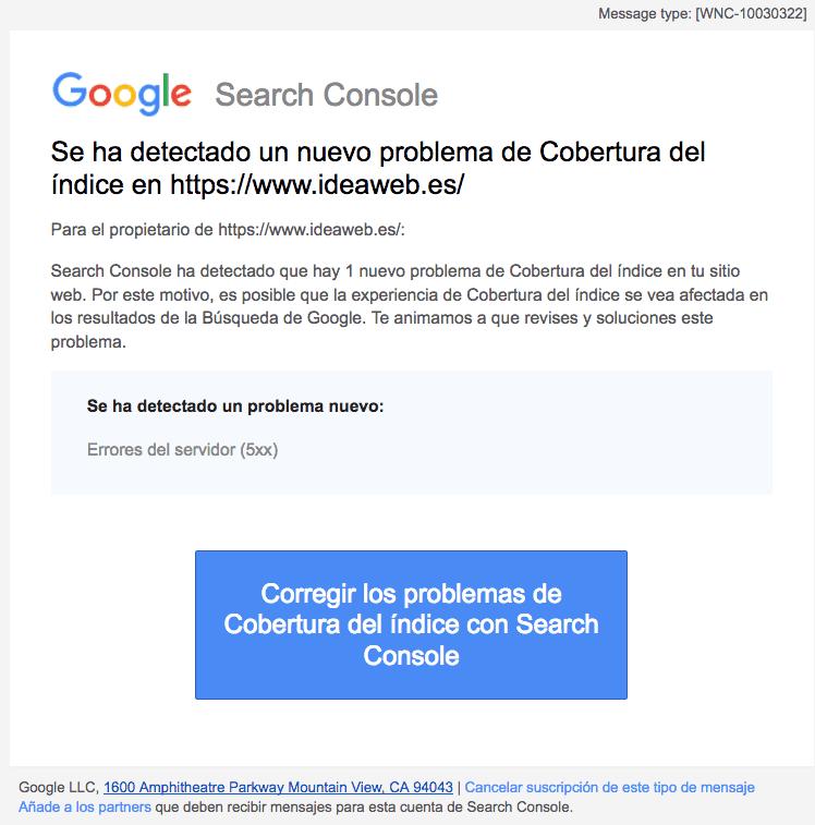 cobertura de indice Google