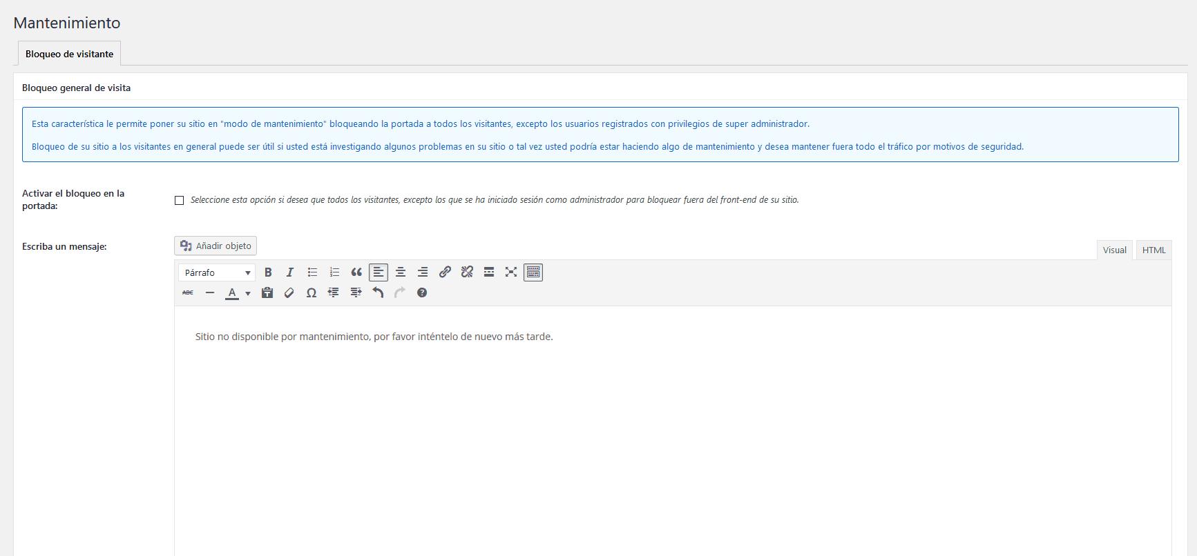 poner modo mantenimiento wordpress