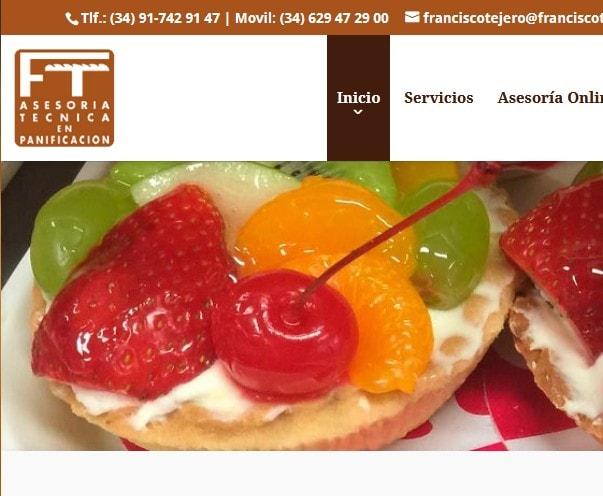 Diseño de página web para asesoría técnica en panificación. Web para alimentación y fabricación.