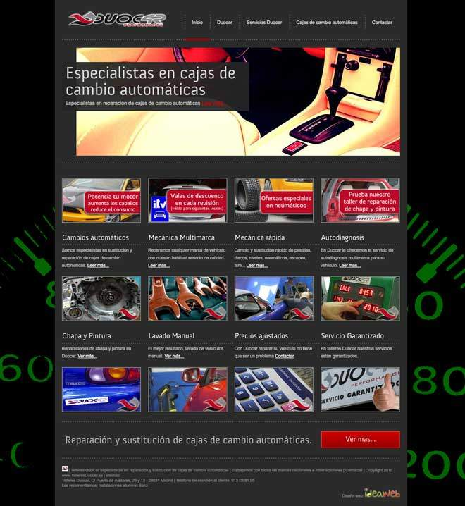 web para taller vehiculos coches