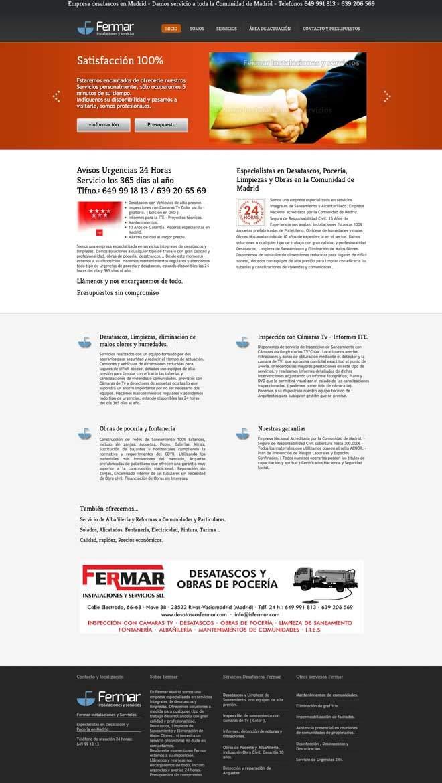 creación de página web para empresa desatascos pocería en Madrid