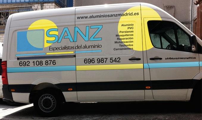 Diseño rotulación de flota y vehículos Aluminio Sanz Madrid