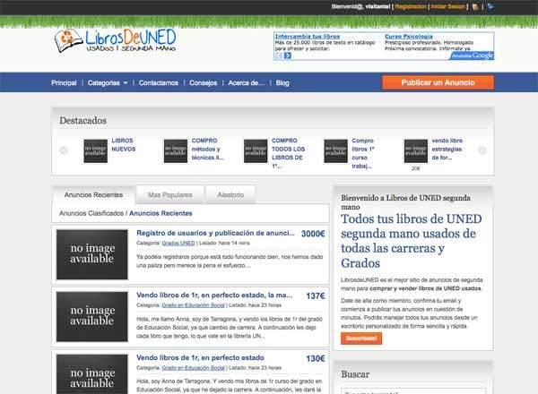 Diseño página web: librosdeuned usados y segunda mano UNED