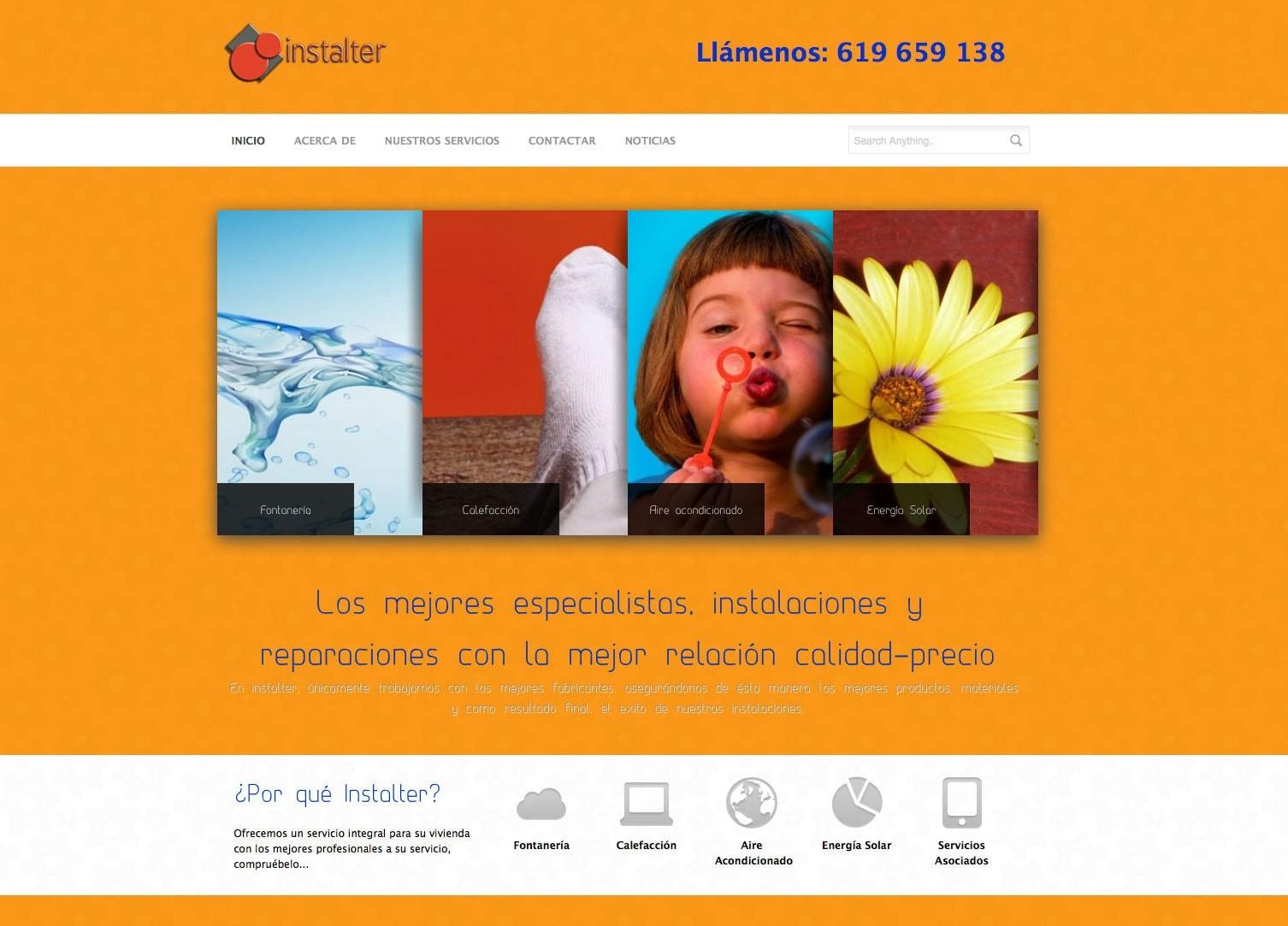 Diseño de la página web de Instalter Madrid