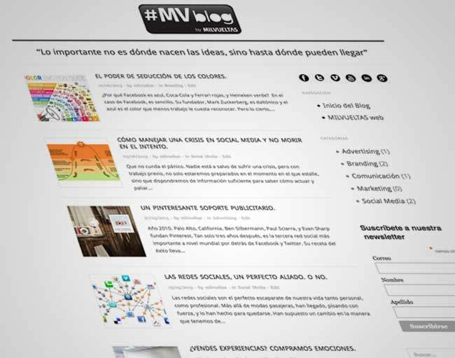 Diseño de blog para agencia de comunicación en Madrid