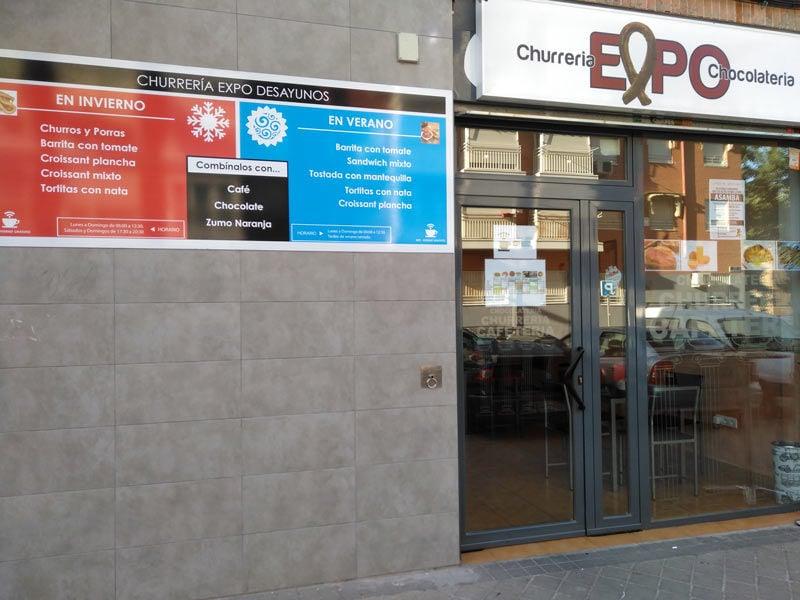 Diseño de cartelería para bar cafeteria y churreria Vallecas Madrid