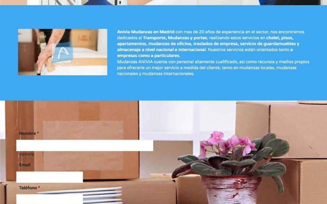 Diseño de página web para empresa de Madrid mudanzas y transportes