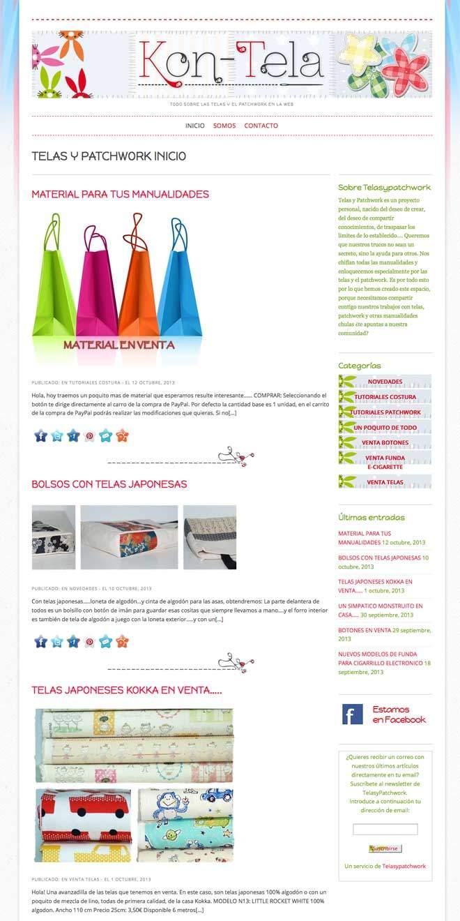 Diseño de blog para manualidades telas y patchwork