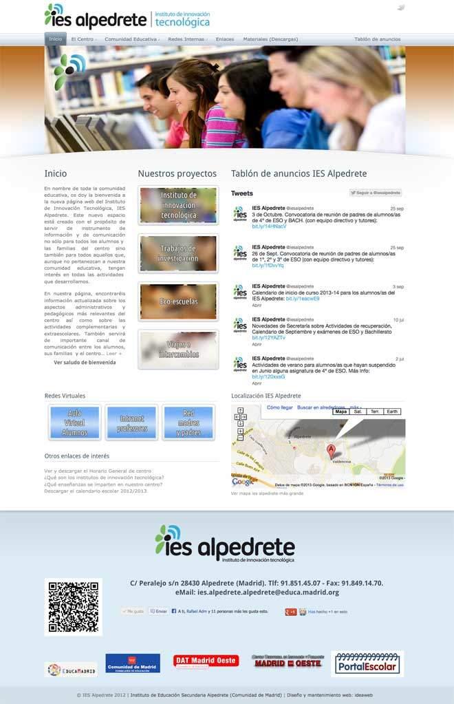 Creacion de página web para instituto público innovación tecnológica de la Comunidad de Madrid