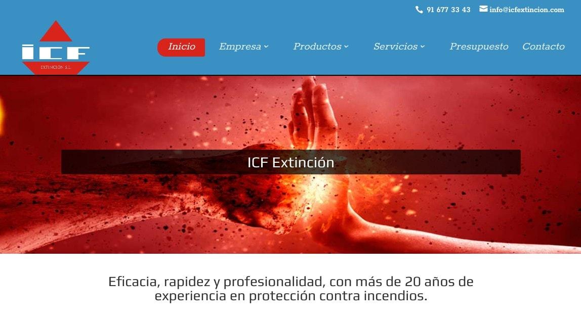 Pagina web para empresa en Madrid de productos de extinción de incendios, servicios de prevención y mantenimiento.