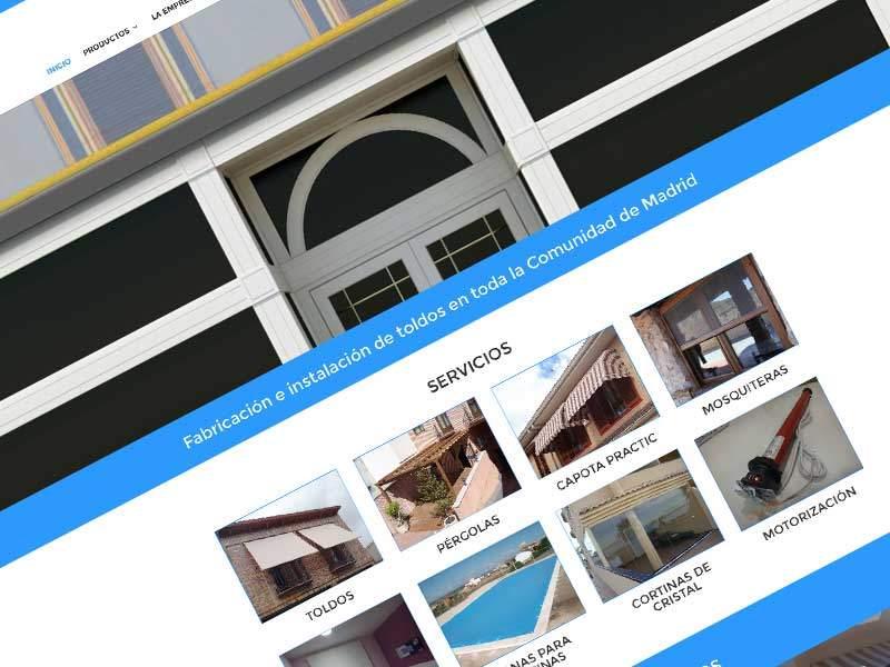 Diseño de pagina web para empresa de toldos en Madrid