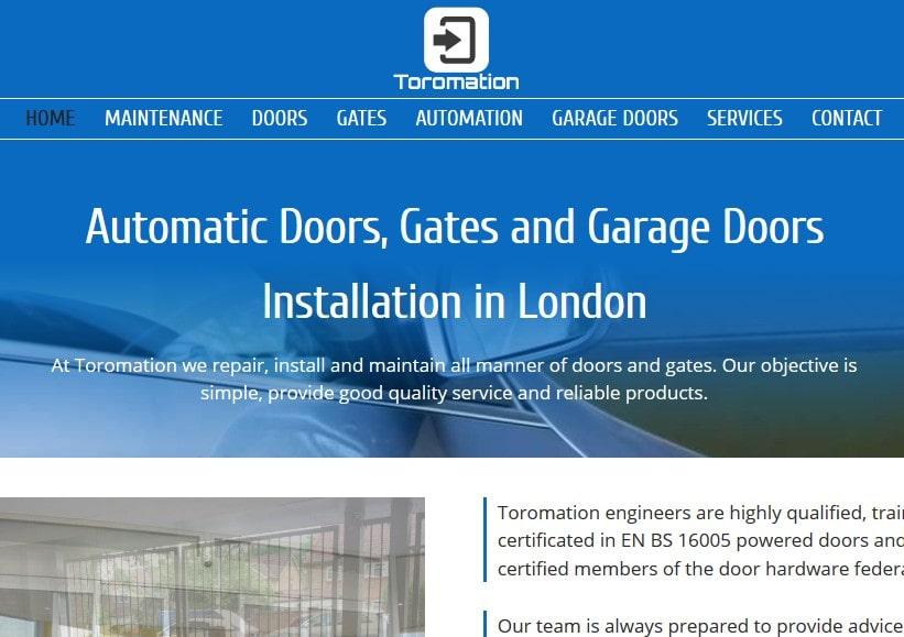 Diseño de página web para empresa en UK de instalación y mantenimiento de puertas y automatismos Toromation