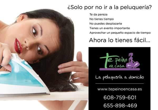 Diseño de flyers para servicio de peluqueria a domicilio en Madrid