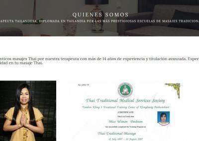 empresa masajes thailandes relajacion Diseño paginas web