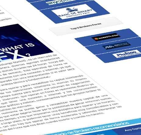 Diseño de páginas web para Opciones Binarias Forex