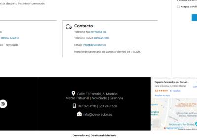 Pagina Web Contacto Escuela Teatro