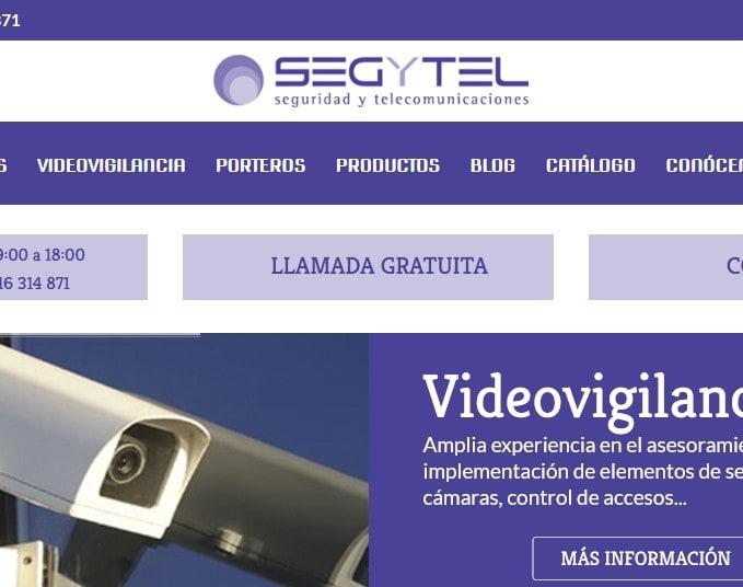 Diseño de página web para empresa de videovigilancia y comunicaciones Segytel