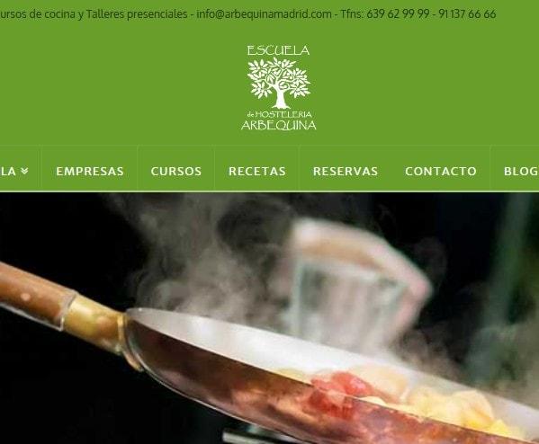 Diseño de página web para escuela de hostelería y repostería en Madrid. Diseño web para restauración y hostelería.