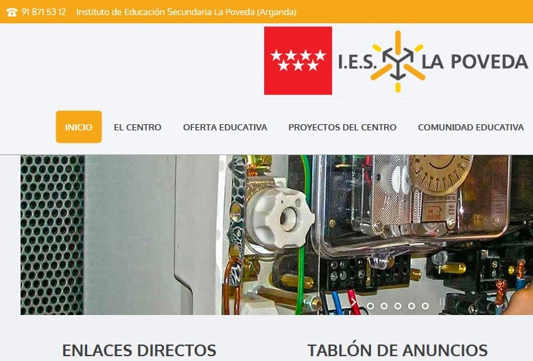 Diseño de página web para institutos. Desarrollo portal web en Instituto de Educación Secundaria en Madrid.