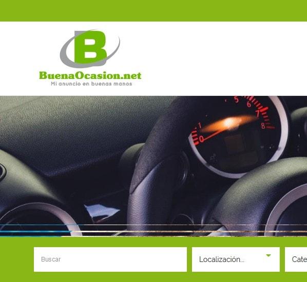 Diseño de página web de anuncios clasificados de segunda mano.