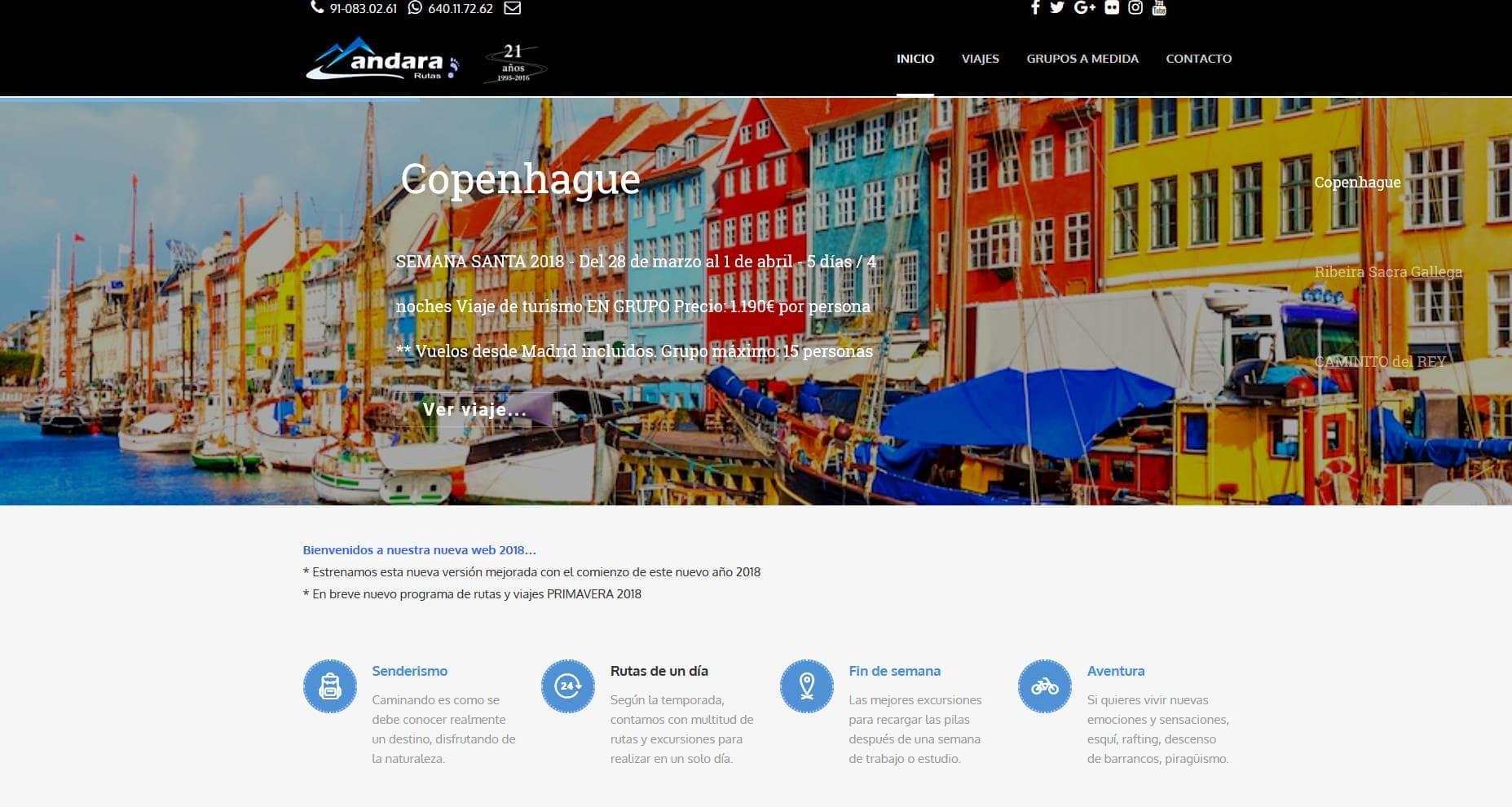 pagina web viajes senderismo Diseño paginas web