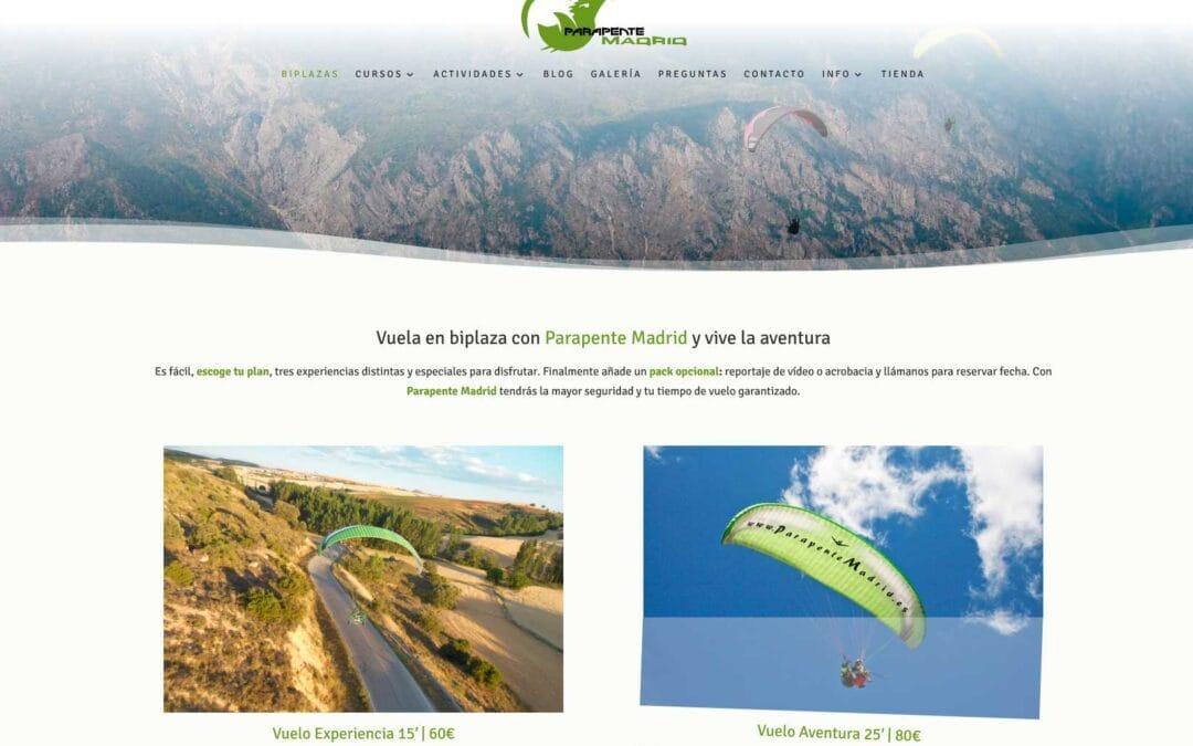 Diseñamos la nueva web para empresa de Parapente en Madrid