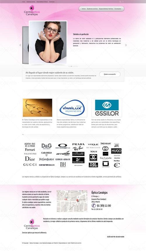 Diseño de página web para centro óptico en Madrid