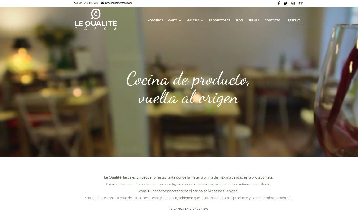 pagina web restaurante madrid Diseño paginas web