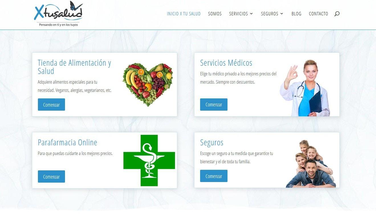 pagina web salud seguros alimentacion servicios diseno Diseño paginas web