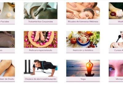 pagina web tratamientos esteticos masjes ecologico Diseño paginas web