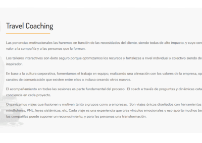 pagina web travel coaching Diseño paginas web