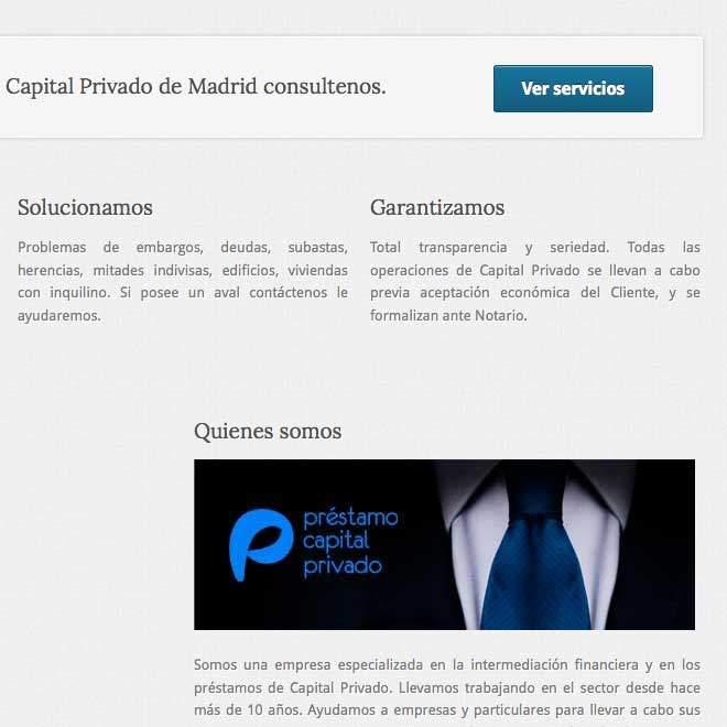 Diseño de página web para agencia oficina de préstamo capitales
