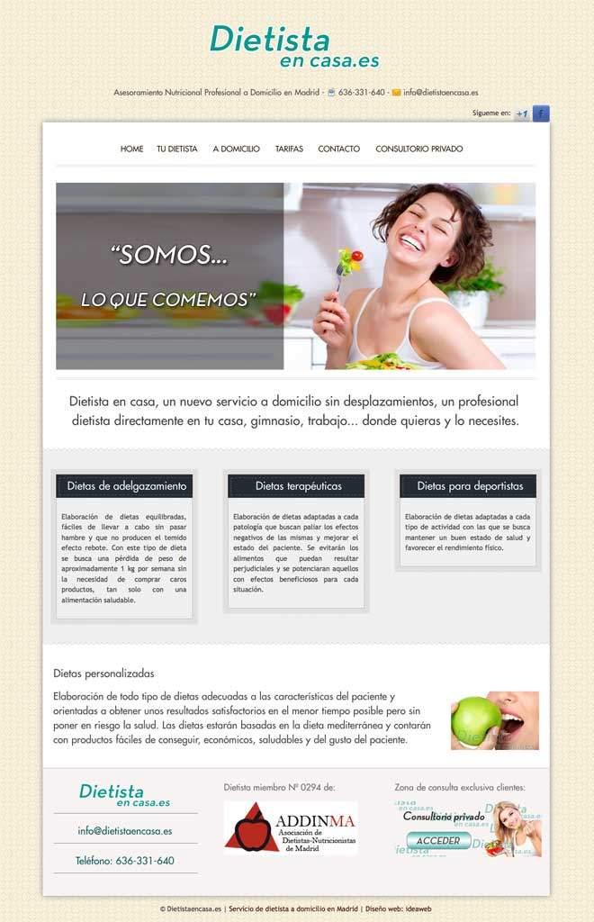Creación de página web para dietista a domicilio
