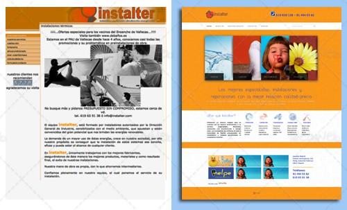 Antes y después: Página web para instaladores, rediseño