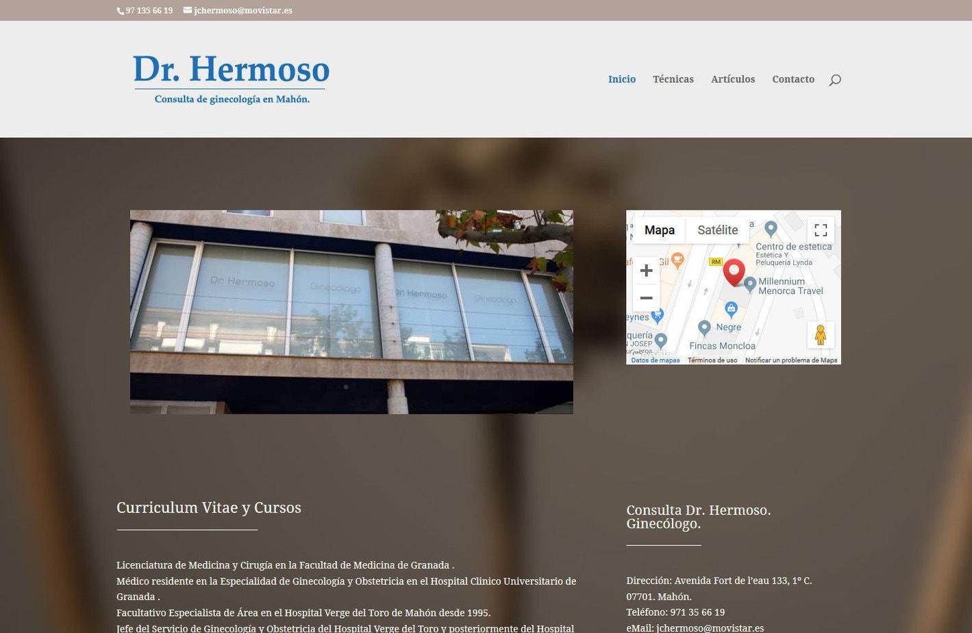 web clinica ginecologica mahon Diseño paginas web