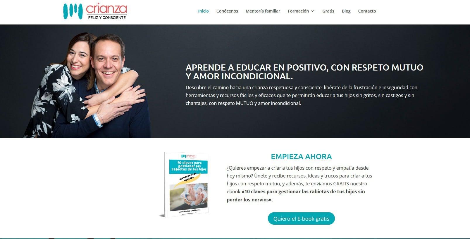web crianza feliz consciente pagina Diseño paginas web