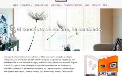 Diseño de página web para empresa de decoración de interiores, estores, cortinas, alfombras, murales, cabeceros