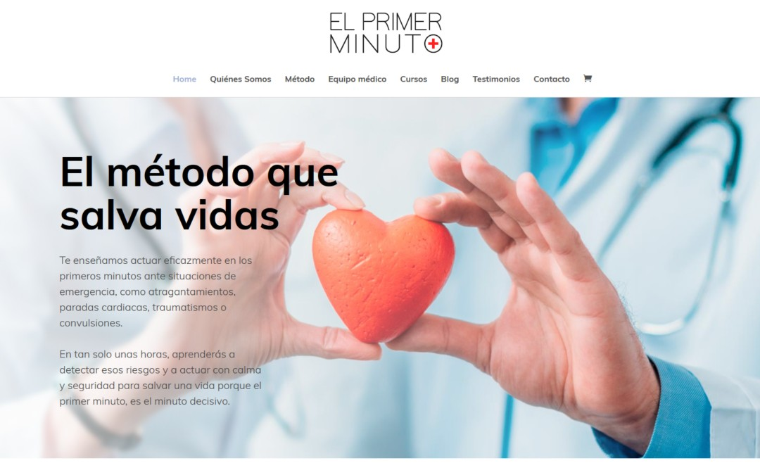 Diseño de pagina web para empresa de primeros auxilios, formación y gestión de cursos en emergencias y primeros auxilios.