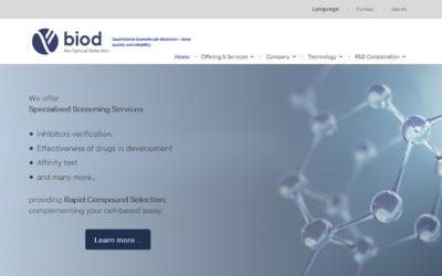 Diseño de página web para empresa científica de biodetección óptica laboratorio en Madrid