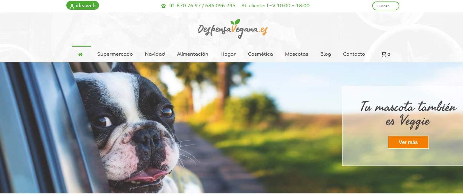 web tienda vegana alimentacion Diseño paginas web