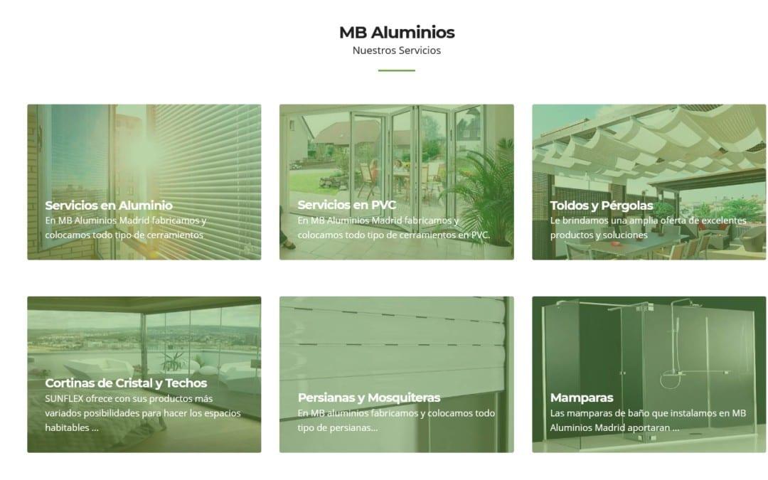 Diseño web para empresa de Aluminio y PVC