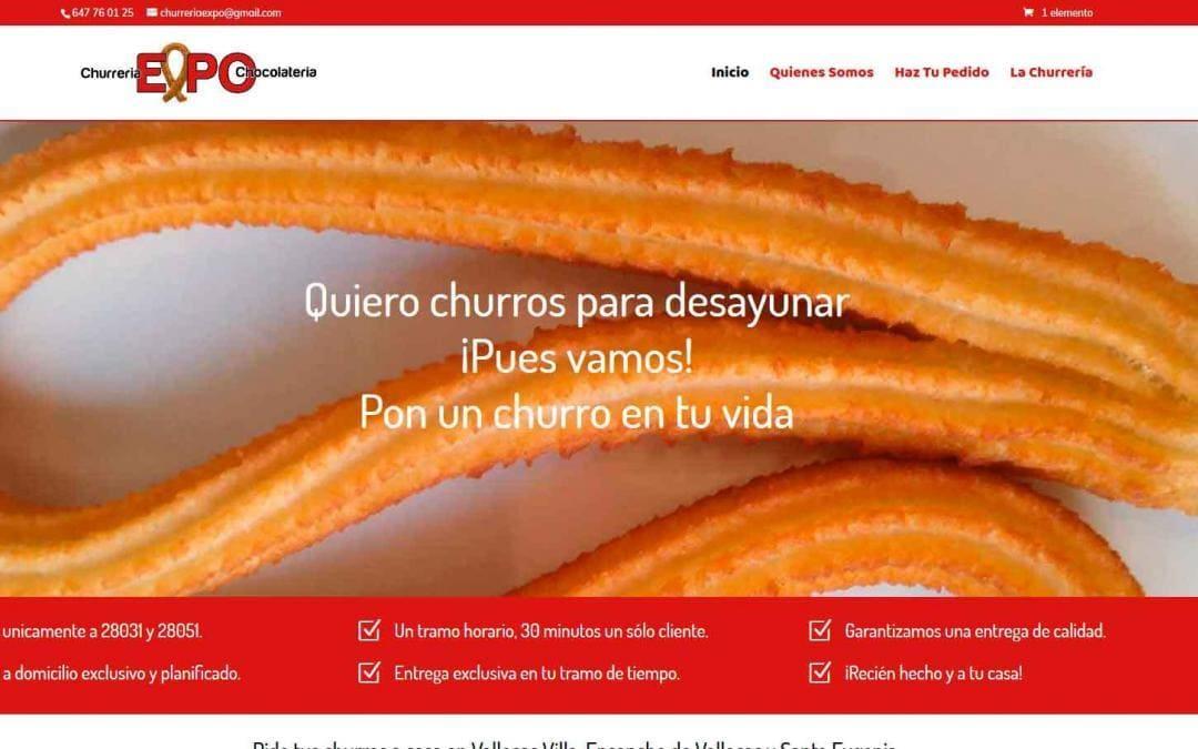 Diseño de página web para desayunos y churrería, venta de comida a domicilio en Madrid