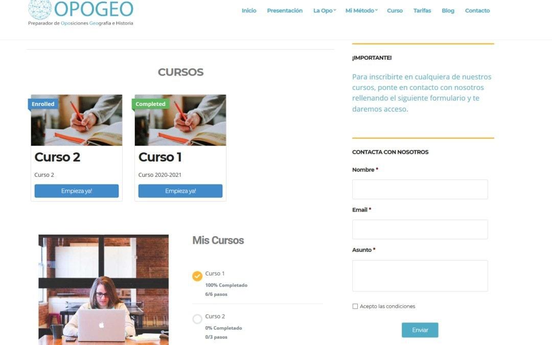 Web para Academia Online. Página web para cursos y clases en línea