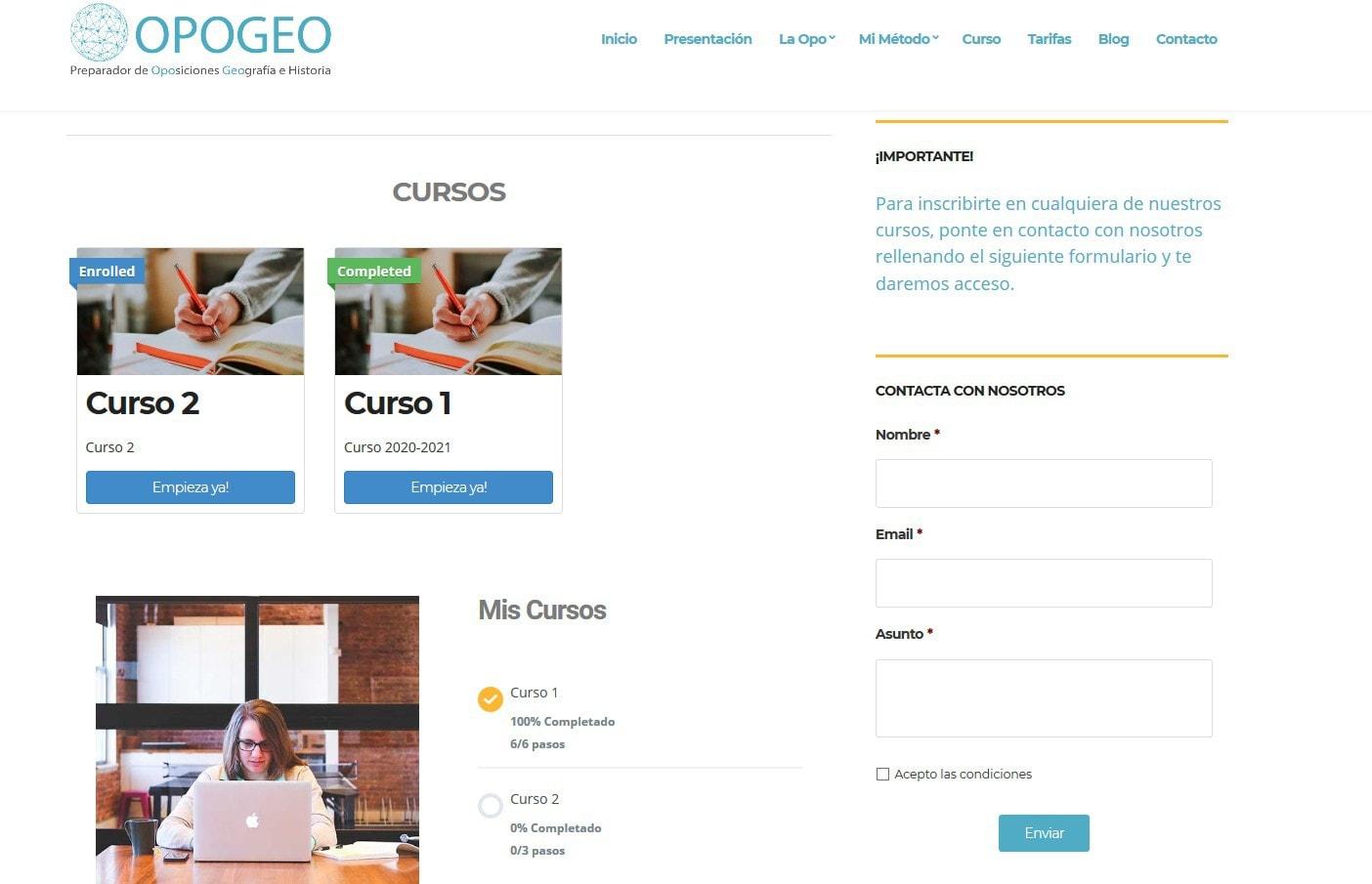 web diseno academia oposiciones online