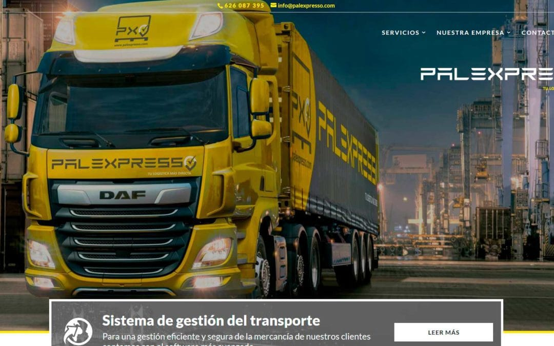 Diseño pagina web para empresa de transporte de mercancías y almacenaje.