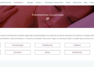 web tratamientos corporales ecologicos centro masajes Diseño paginas web
