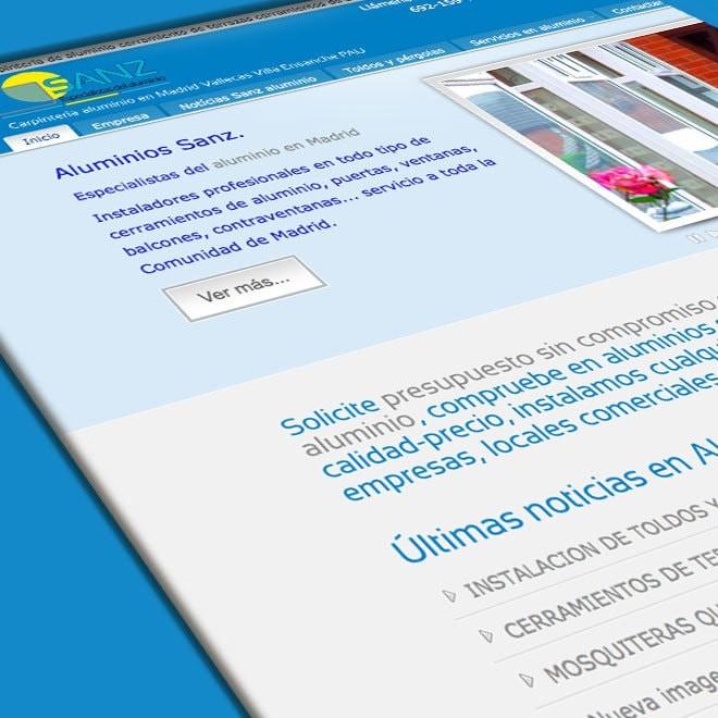 Diseño de página web para empresa de aluminios y toldos en Madrid